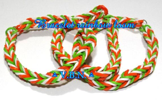 Bracelet élastique raimbow loom fait main orange-blanc-vert au couleur de l'irlande