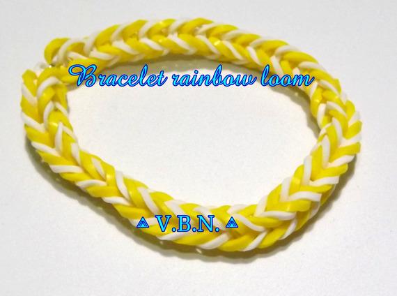 Bracelet élastique raimbow loom fait main jaune et blanc aux couleurs de l'été