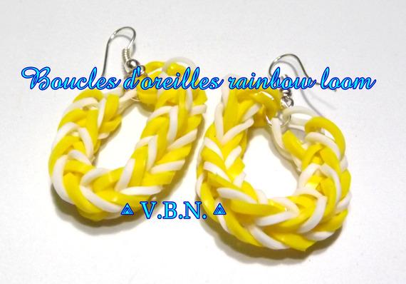 Boucles d'oreilles élastique raimbow loom fait main jaune et blanc aux couleurs de l'été