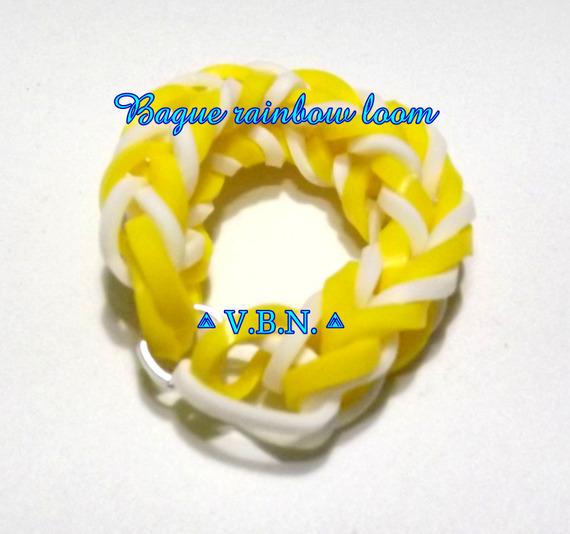 Bague élastique raimbow loom fait main jaune et blanc aux couleurs de l'été