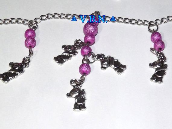 Parure collier et boucles d'oreilles avec chaine inoxydable perles starbust rose 6 et 8mm nounours 2cm