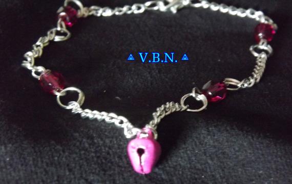 Chaines de chevilles métal argenté avec perles acrylique et clochettes de 6mm rose