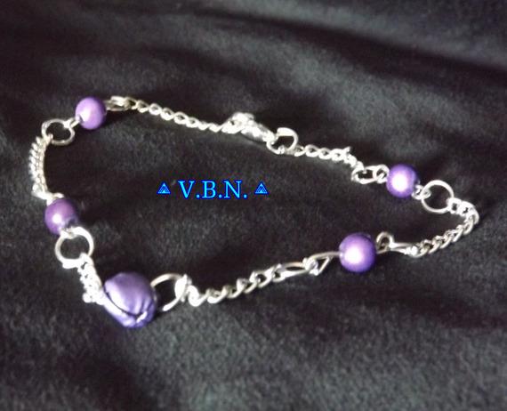 Chaines de chevilles métal argenté avec perles et clochettes de 6mm violet