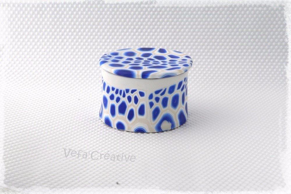 Vagues Bleues - boite à bijoux ronde