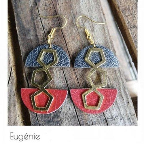 Boucles d'oreilles doré demi cercle simili cuir brique & gris