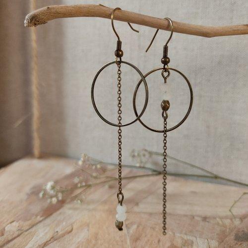 Boucles d'oreilles asymétrique bronze cercle & pierres