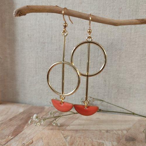 Boucles d'oreilles doré asymétriques & sequins