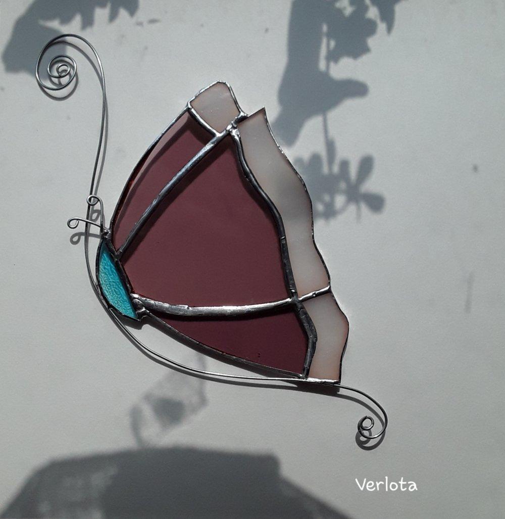 Attrape soleil en verre fusionné et vitrail papillon