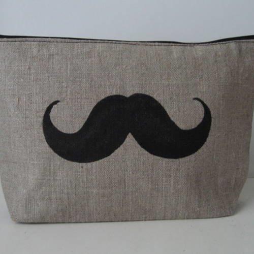 Trousse moustache en lin naturel enduit pour monsieur