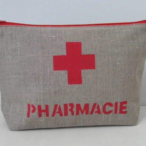 Trousse pharmacie en lin naturel enduit
