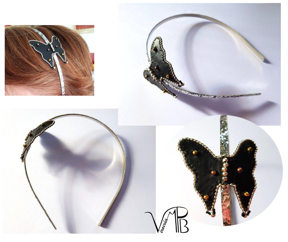 Serre-tête métallique, paillettes, Papillon cuir