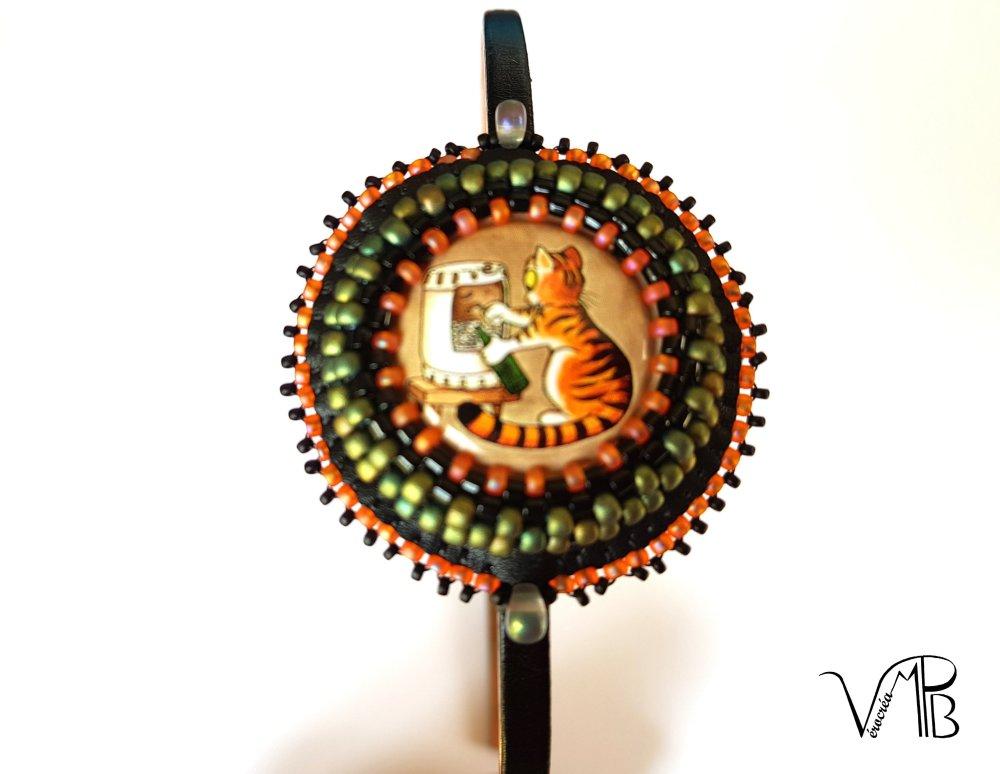 Serre-tête métallique Miaou, plaque de Muselet chat