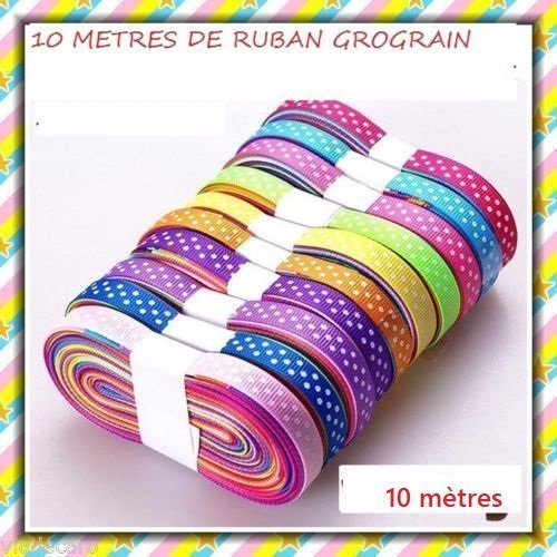 10 mètres ruban gros grain  ***pois multicolore