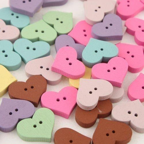 6 boutons bois *coeur multicolore