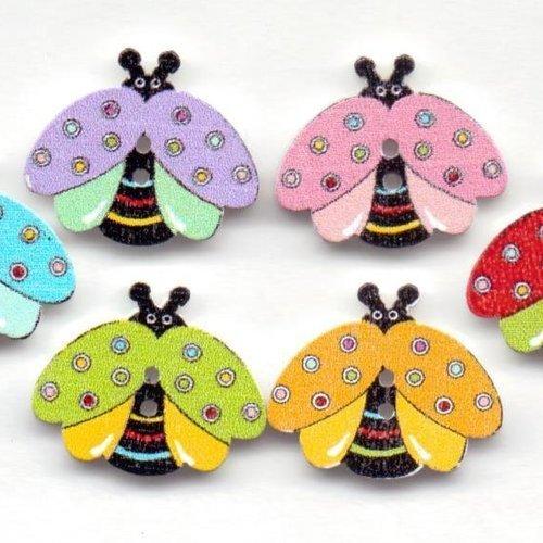 6  boutons bois abeille  : 2 trous   réf 2720
