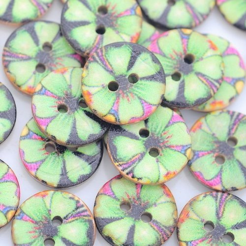 """6  boutons  coco rond 2 trous """" 15 mm"""