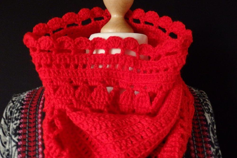 Snnod écharpe dentelle au crochet, laine rouge