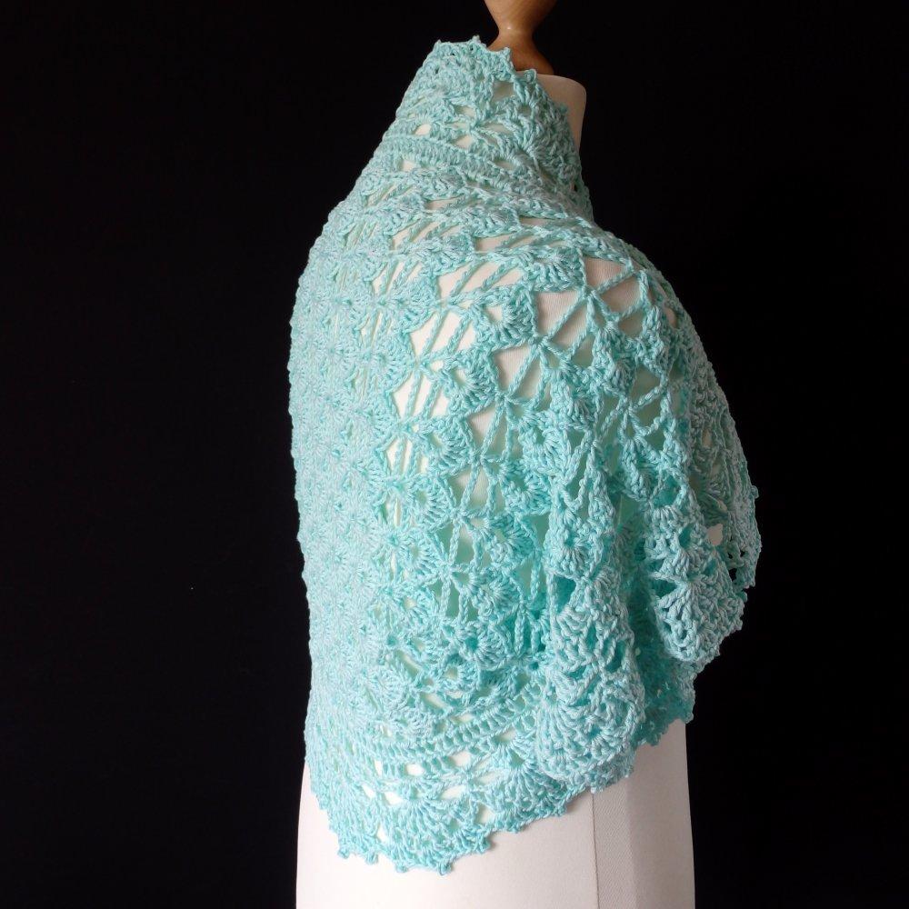 Boléro dentelle de crochet, gilet manches courtes, cache épaules, coton
