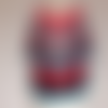 Tunique rétro au crochet, laines rouge, noire, turquoise
