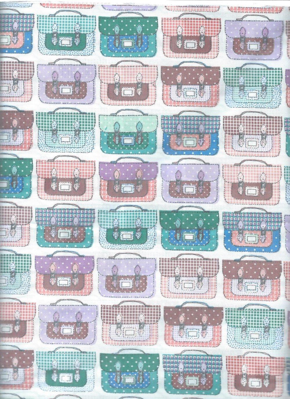 Coupon tissu motifs cartable coton patchwork
