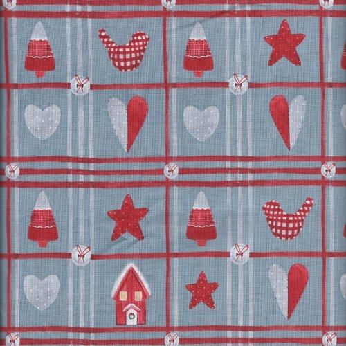 Coupon tissu patchwork noel gris motifs rouge etoile oiseaux sapin vignettes