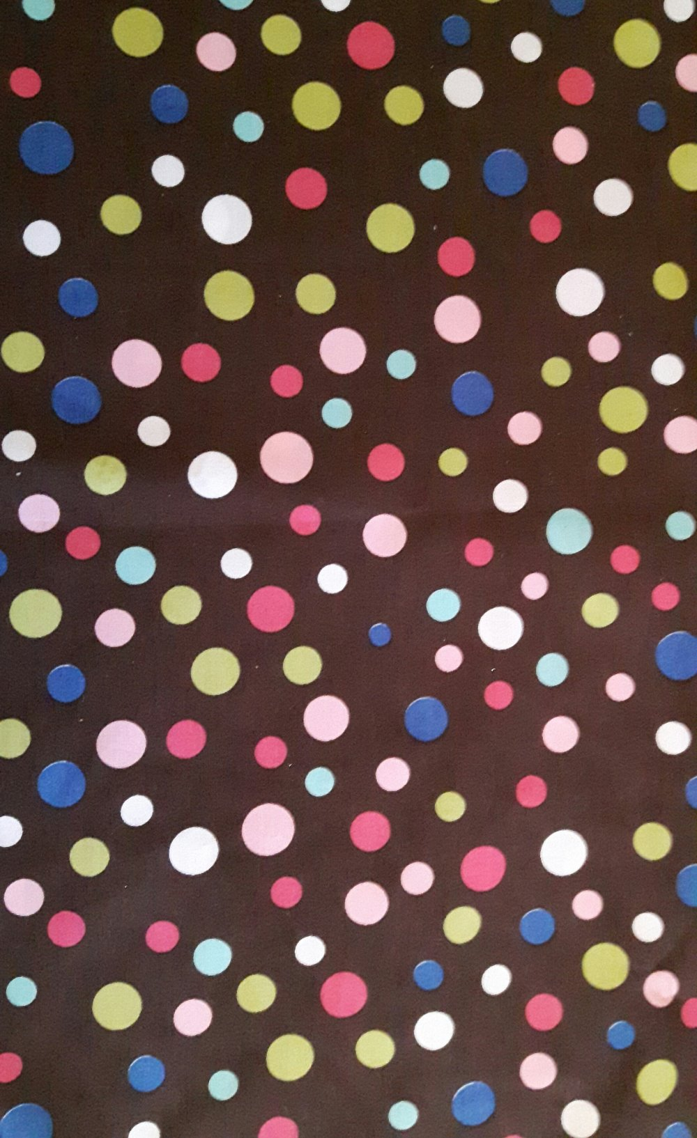 COUPON TISSU MARRON POIS MULTICOLORES  coton
