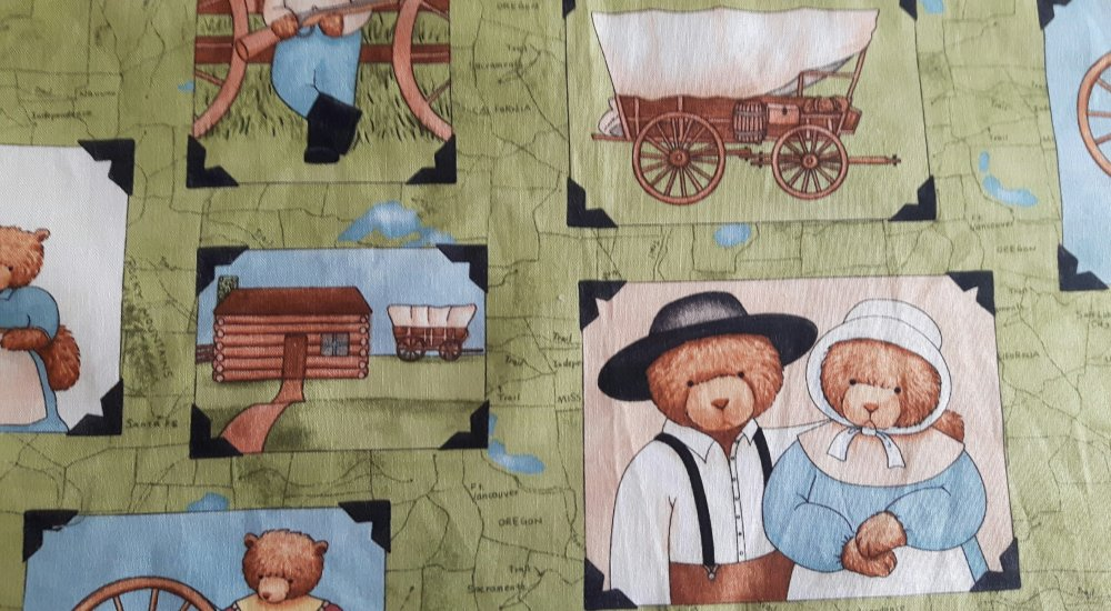 Coupon tissu patchwork ours far west vignettes