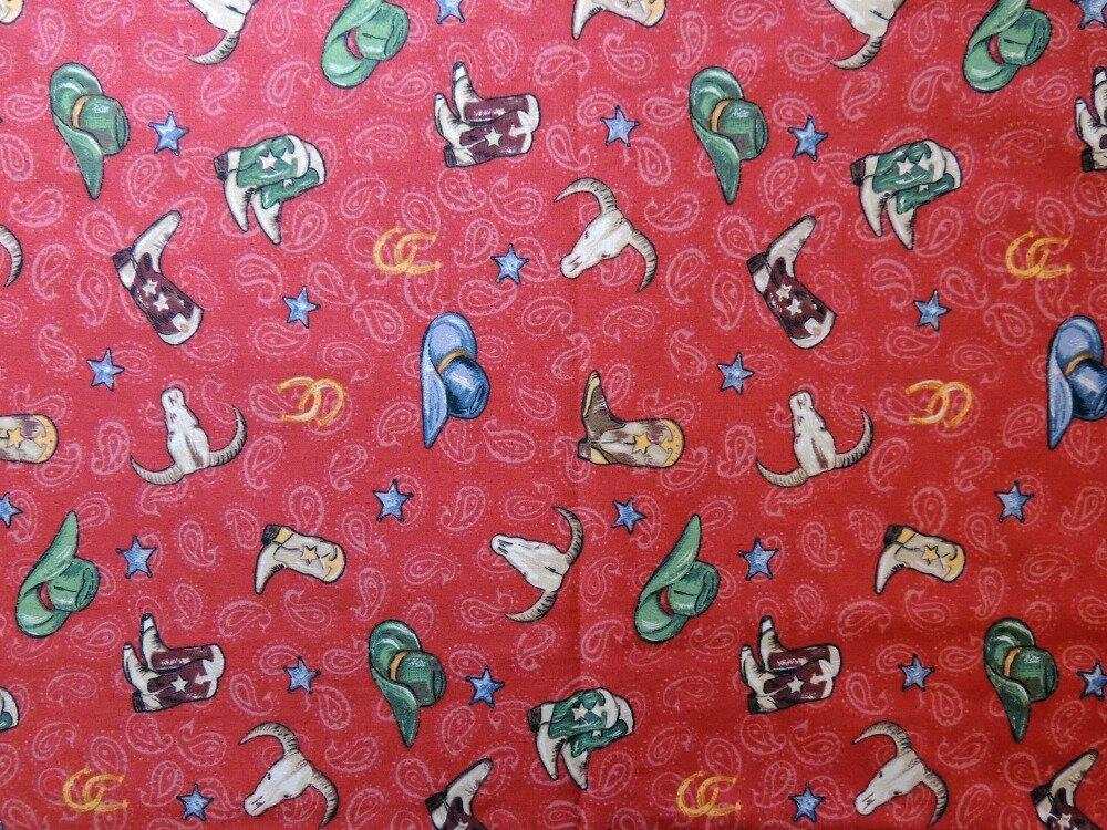 """Coupon de tissu """"Cow-boy"""" 50 x 55 cm - coton"""