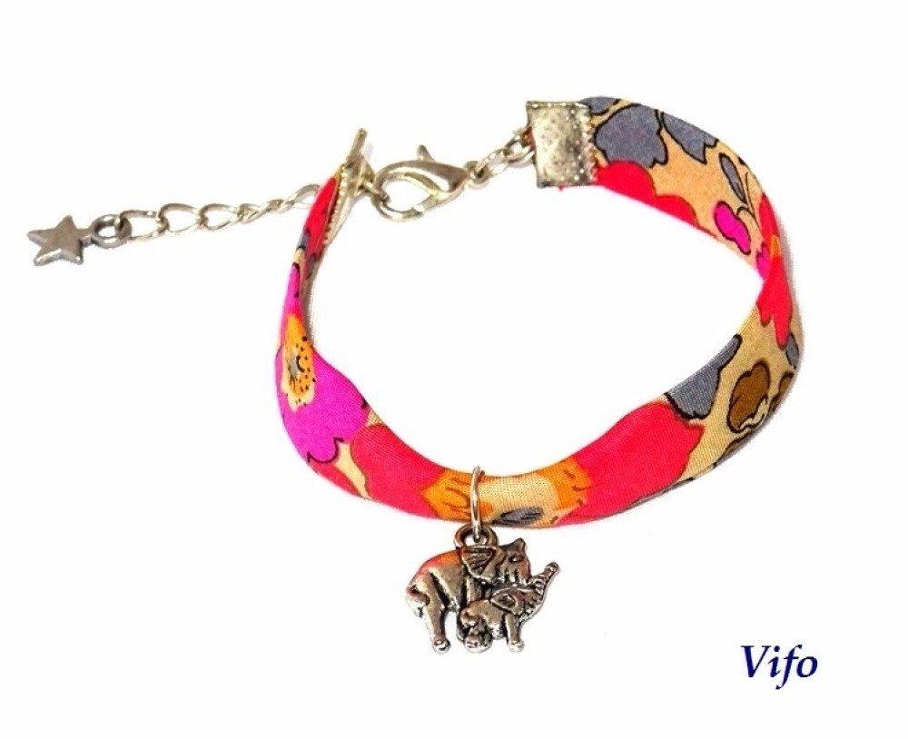 Bracelet liberty orange gris fuchsia taupeenfant, ado, femme pendentif Eléphants argenté ajustable