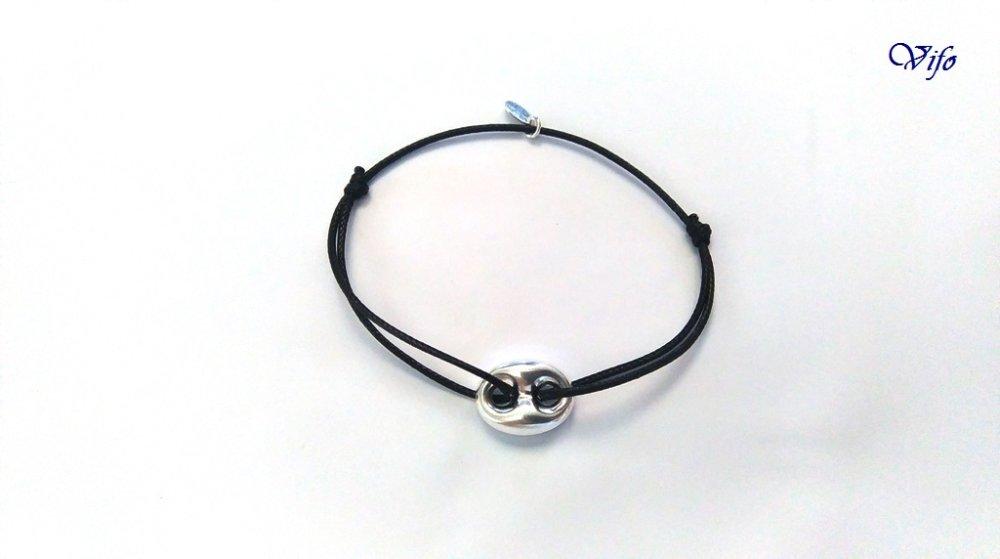 Bracelet nœuds coulissants noir, Bracelet cordon Grain de café argent 925, Homme Femme Ado, réglable