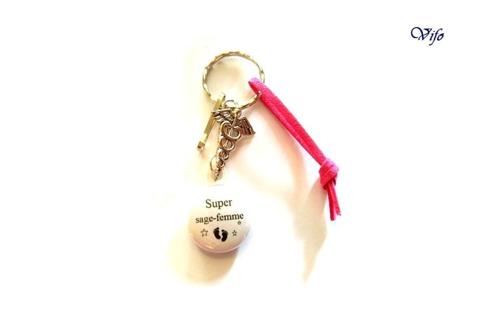 """Porte-clés - Bijou de porte-clés - Bijou de sac """"Super sage-femme"""", rose, blanc, noir"""