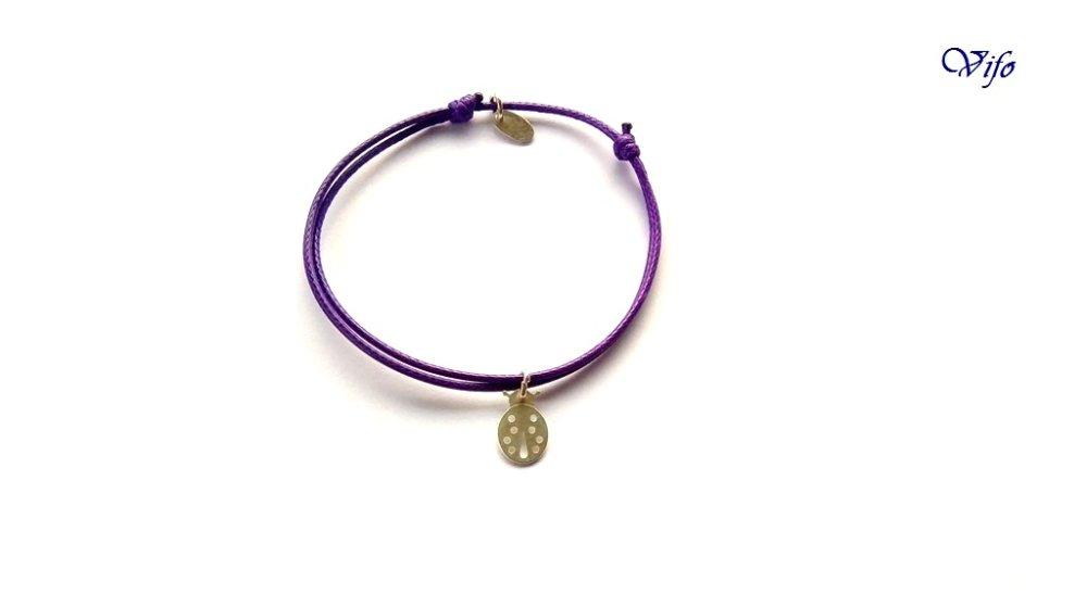 Bracelet mini pendentif Coccinelle, violet, Enfant, Ado, Adulte (petit poignet) réglable
