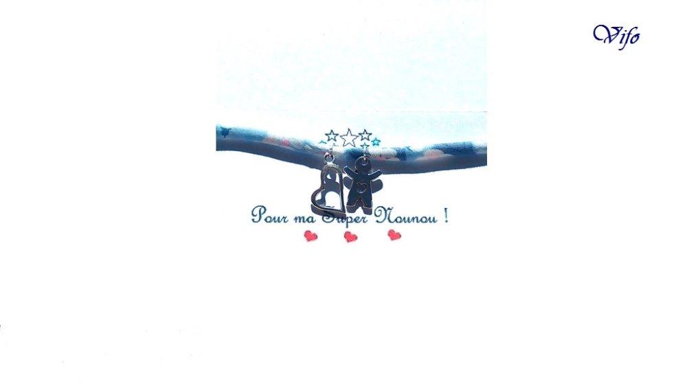 Cadeau Mamie, Marraine, Maman, Nounou, Bracelet liberty bleu ciel gris blanc rose à nouer, Pendentifs Fille/Garçon, Coeur, Ajustable