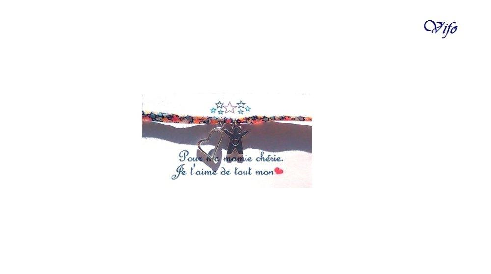 Cadeau Mamie, Marraine, Maman, Nounou, Bracelet liberty bleu orange rose noir blanc à nouer, Pendentifs Fille/Garçon, Coeur, Ajustable