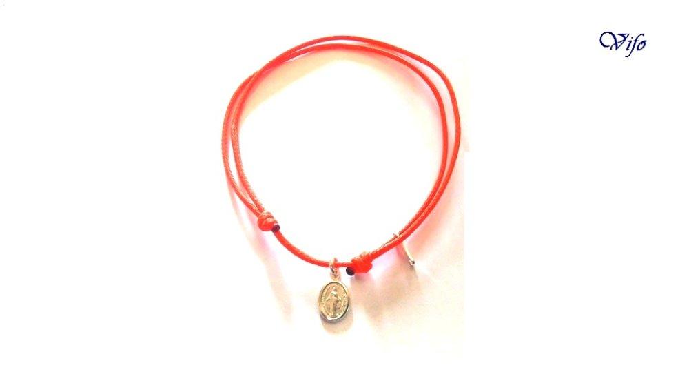 Bracelet mini Médaille Miraculeuse argent 925, réglable, Taille enfant, ado, Bracelet cordon orange vif
