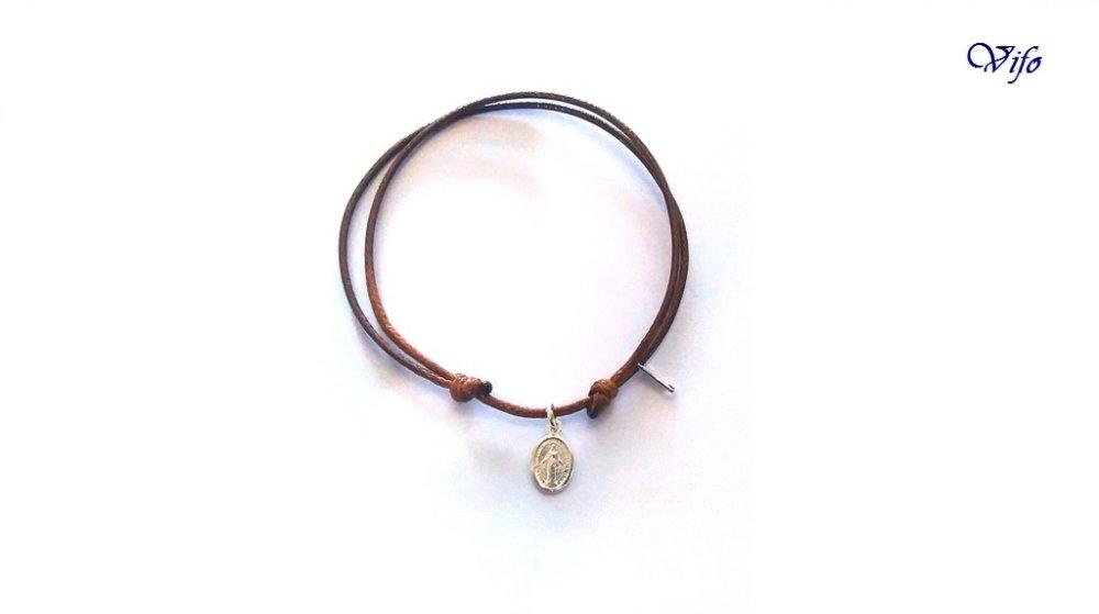 Bracelet mini Médaille Miraculeuse argent 925, réglable, Taille enfant, ado, Bracelet cordon marron