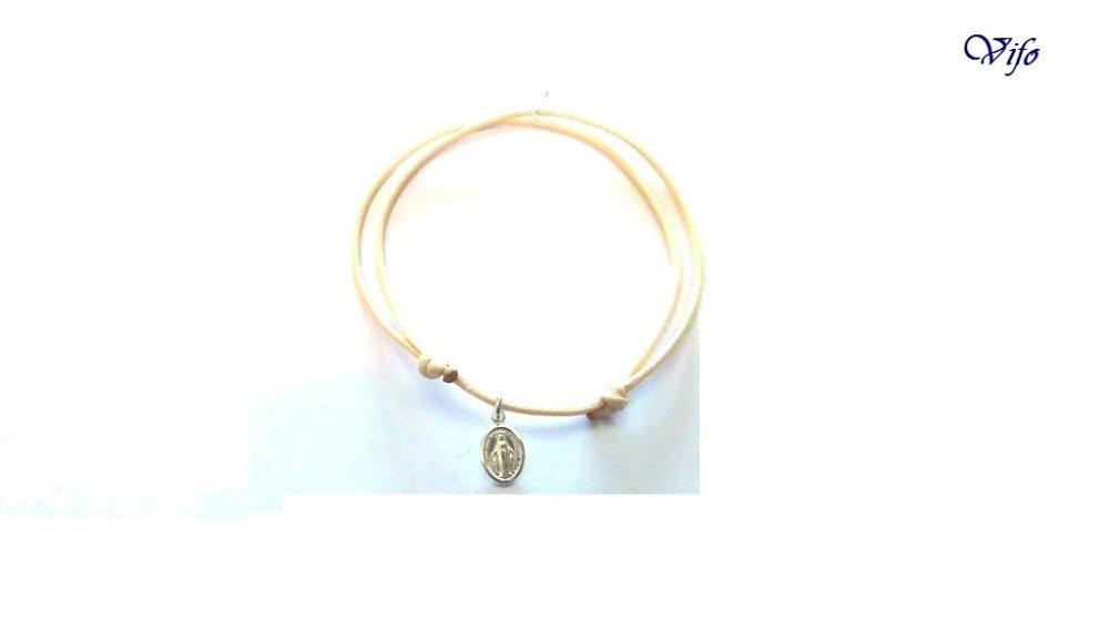 Bracelet mini Médaille Miraculeuse argent 925, réglable, Taille enfant, ado, Bracelet cordon crème