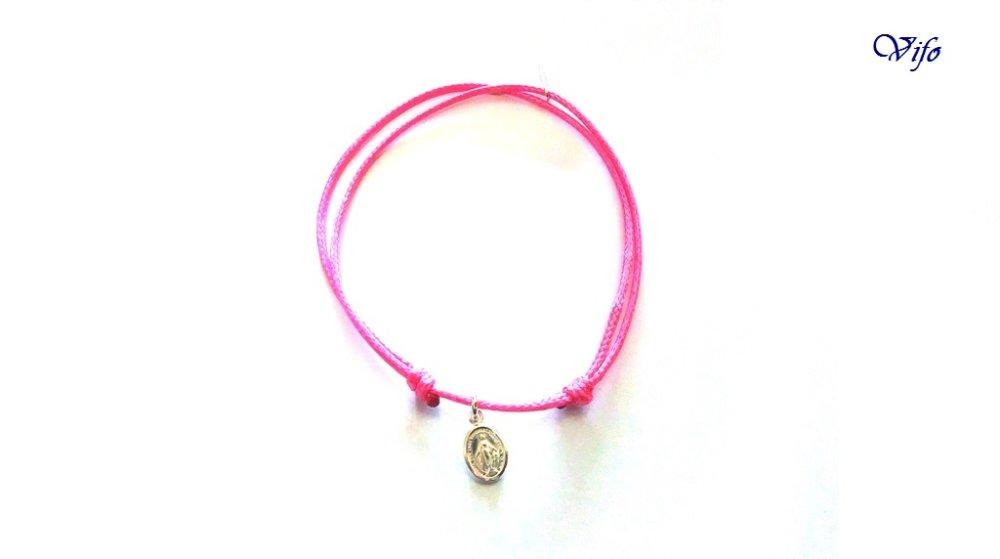 Bracelet mini Médaille Miraculeuse argent 925, réglable, Taille adulte, ado, Bracelet cordon rose fuchsia