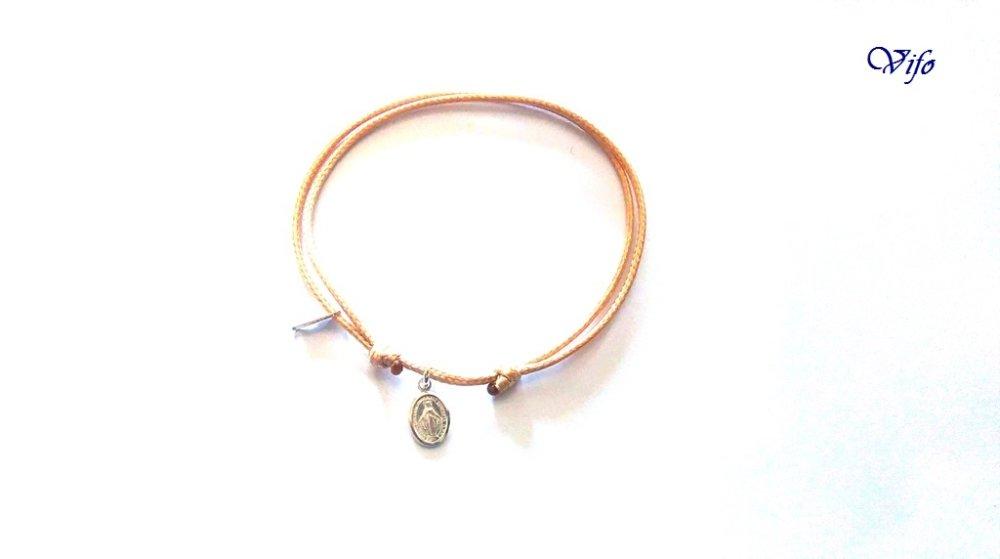 Bracelet mini Médaille Miraculeuse argent 925, réglable, Taille adulte, ado, Bracelet cordon camel