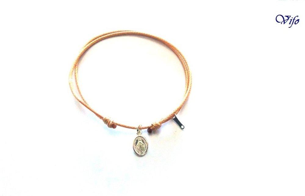 Bracelet mini Médaille Miraculeuse argent 925, réglable, Taille enfant, ado, Bracelet cordon camel