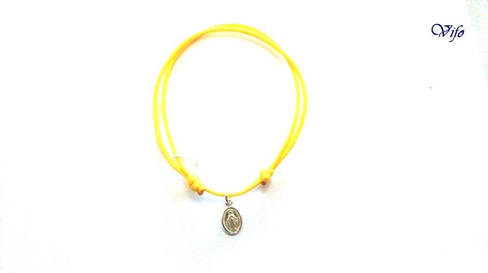 Bracelet mini Médaille Miraculeuse argent 925, réglable, Taille adulte, ado, Bracelet cordon jaune