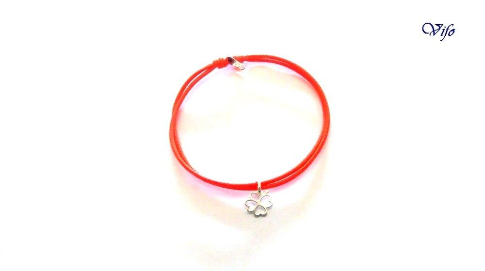 Bracelet mini pendentif Trèfle à 4 feuilles argent 925, réglable, Taille enfant, ado, Bracelet cordon orange vif