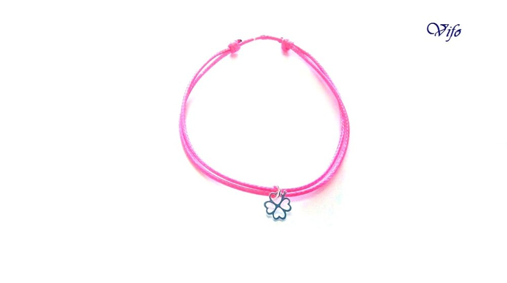 Bracelet mini pendentif Trèfle à 4 feuilles argent 925, réglable, Taille adulte, ado, Bracelet cordon rose fuchsia