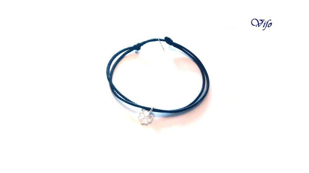 Bracelet mini pendentif Trèfle à 4 feuilles argent 925, réglable, Taille adulte, ado, Bracelet cordon noir