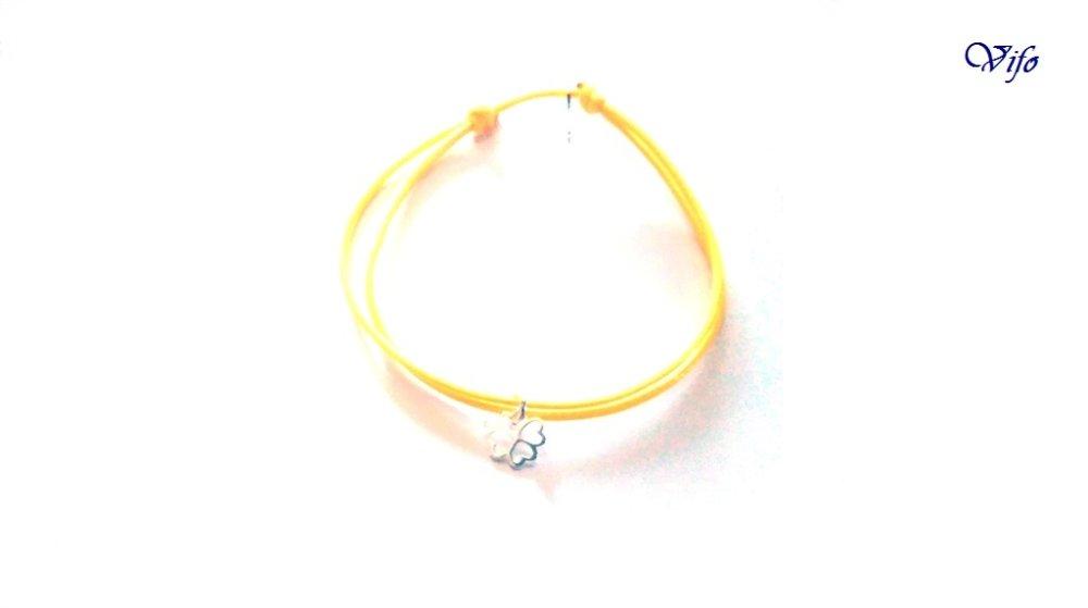 Bracelet mini pendentif Trèfle à 4 feuilles argent 925, réglable, Taille adulte, ado, Bracelet cordon jaune
