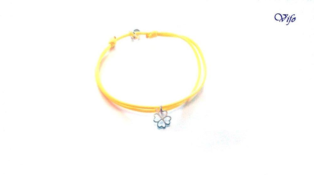Bracelet mini pendentif Trèfle à 4 feuilles argent 925, réglable, Taille enfant, ado, Bracelet cordon jaune