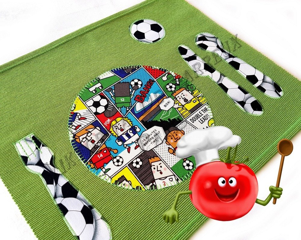 Personalisation Set de table Montessori,  Football , Set Table en Tissu pour enfants , Méthode Montessori