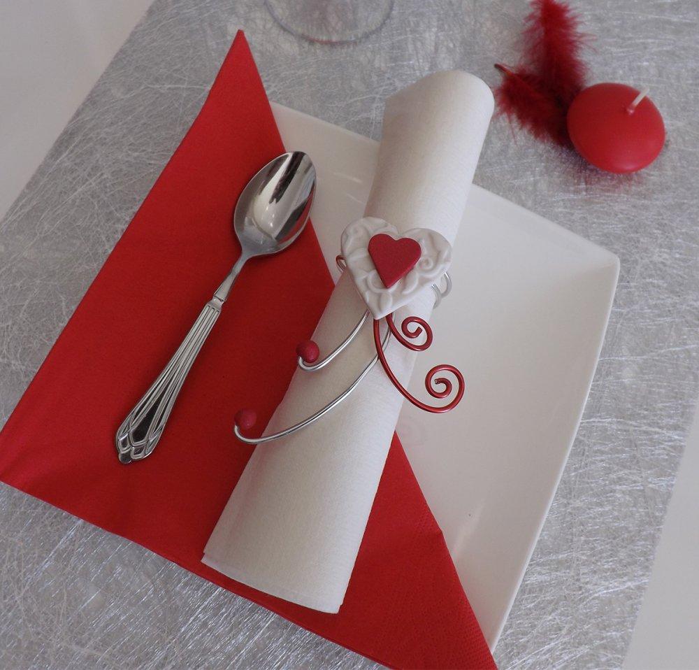 Rond De Serviette Noel Fait Maison décoration de table pour mariage, saint valentin rond de serviette cœur  rouge et blanc