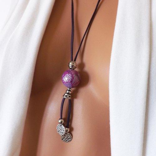 Bijou fantaisie sautoir perle artisanal rose et violet, bijou femme moderne et original