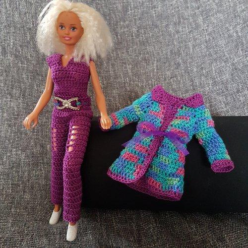 Habit pour barbie au crochet combinaison et manteau